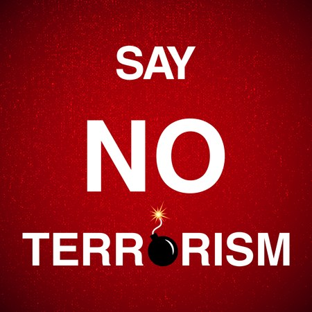 illustration with say no terrorism background Ilustrace