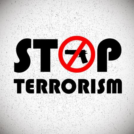terrorism: illustration with stop terrorism background