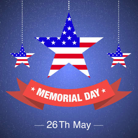 memorial day red ribbon with stars and usa flag on blue background Illustration