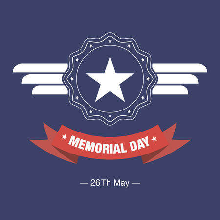 memorial day blue badge with red ribbon on blue background Illustration