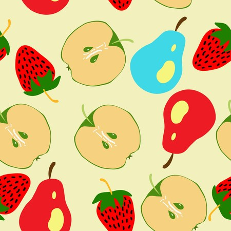 half apple: Seamless pattern with half apple, pear and srawberry