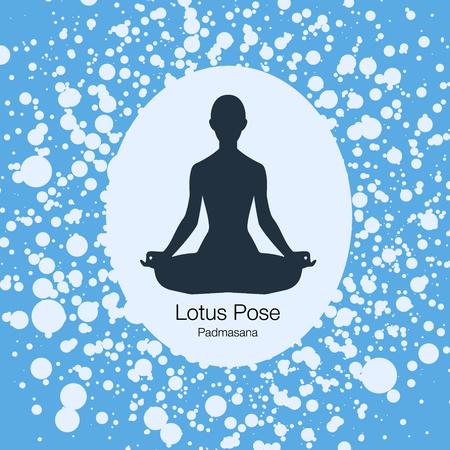 vector illustration with yoga lotus pose on grunge backghround