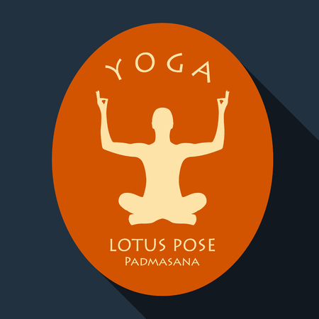 long recovery: vector illustration with yoga lotus pose background and long shadow Illustration