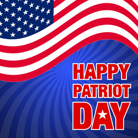 vector illustration with happy patriot day greeting card and usa waving flag on sunburst background