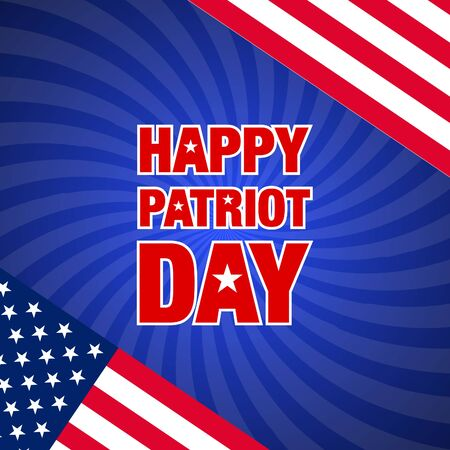 vector illustration with happy patriot day greeting card and usa flag on sunburst background Illustration