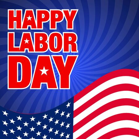 vector illustration with happy labor day lettering and usa waving flag on sunburst background