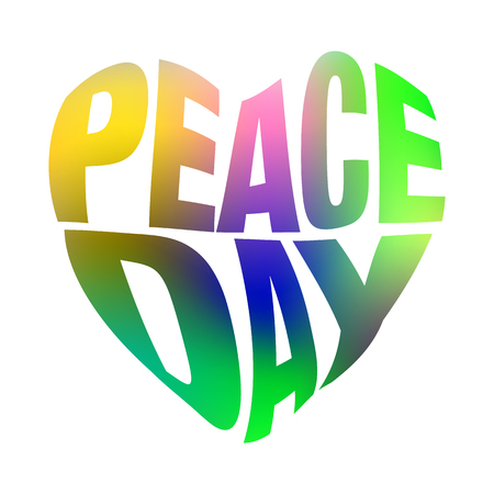 colrful: vector illustration with Peace Day lettering and colorful heart shape.Peace Day lettering greeting card.Peace Day lettering illustration.Peace Day lettering design.