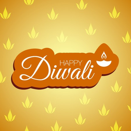 festival of lights: vector illustration with happy diwali lettering greeting card background.Happy diwali festival of lights greeting card background with indian lamp.Happy diwali festival greeting background and indian lamp Illustration