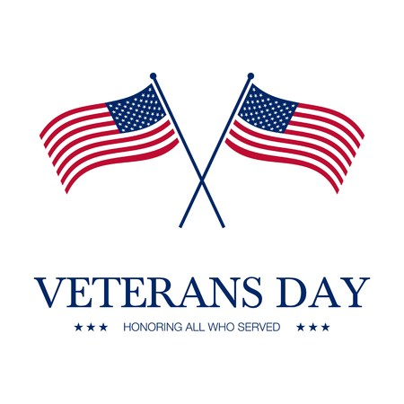 vector illustration with veterans day greeting card background and usa flag Illustration