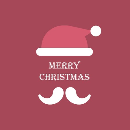vector illustration with flat santa claus hat and beard and merry christmas lettering