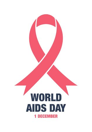 aids awareness ribbon: vector illustration with world aids day greeting card and red ribbon Illustration