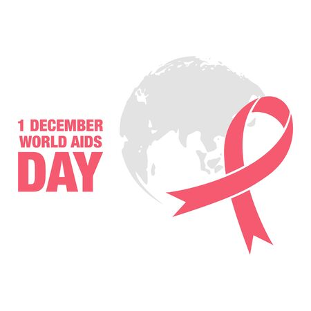 aids awareness ribbon: vector illustration with world aids day greeting card, world map and red ribbon
