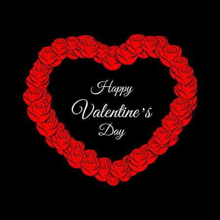 vector illustration with Happy Valentines Day greeting card, red roses and heart on black background