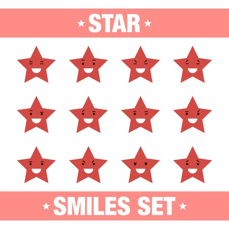 top animated: vector illustration with set of red star smiles. Red star smiles collection in flat style. Vector set of red star smiles on white background