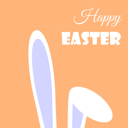 Illustration with flat bent hares ear for your happy easter day greeting card design.Cartoon bent hares ear on orange background