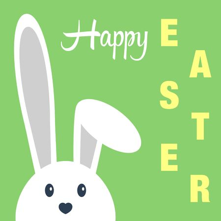 Cute happy easter day bunny in flat style on green background.Happy easter day greeting card with funny cartoon rabbit character. Illustration