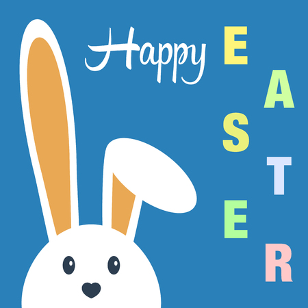 Cute happy easter day bunny in flat style on blue background.Happy easter day greeting card with funny cartoon rabbit character.