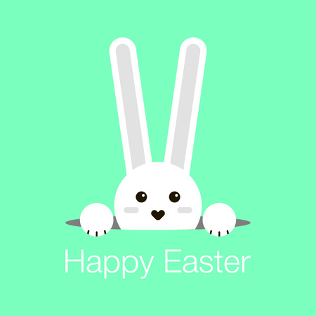Cute little rabbit cartoon character looking out of a hole for your easter day greeting card design.Easter day greeting card design with flat little bunny character looking out of a hole. Illustration