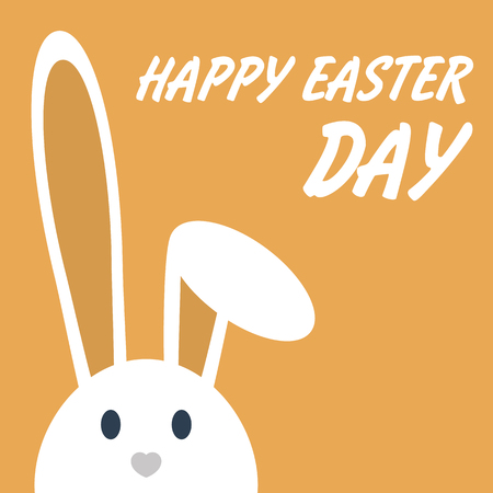 Cute happy easter day bunny in flat style on orange background.Happy easter day greeting card with funny cartoon rabbit character.