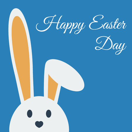 Cute happy easter day bunny in flat style on blue background. Happy easter day greeting card with funny cartoon rabbit character. Illustration