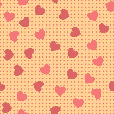 seamless pattern of hearts on a chiseled background Illustration