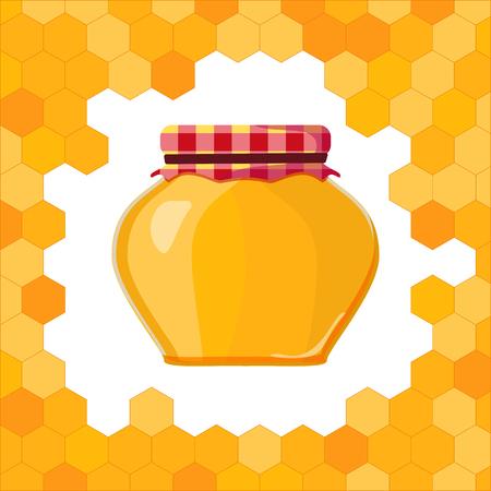 nectars: a pot of honey with honeycomb Illustration