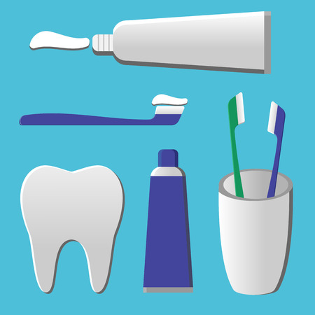 using mouth: set of toothpaste, tooth cheek tooth in a flat style