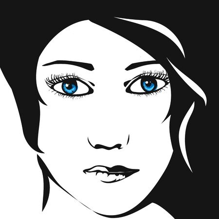 beautiful face: Beautiful womans face. Sketch. Illustration