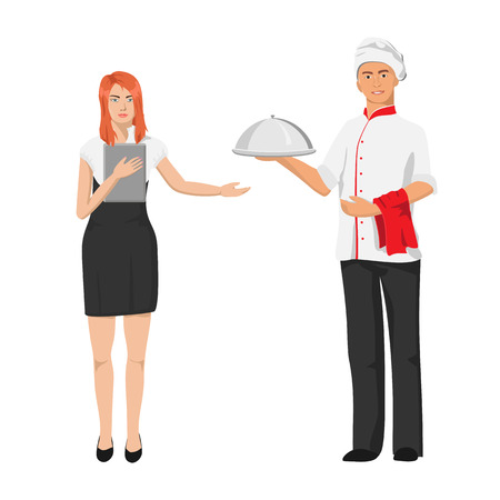 restaurant staff: chef and the waitress. Service staff in the restaurant.