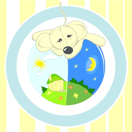 Baby illustration or card animal with ball Vector