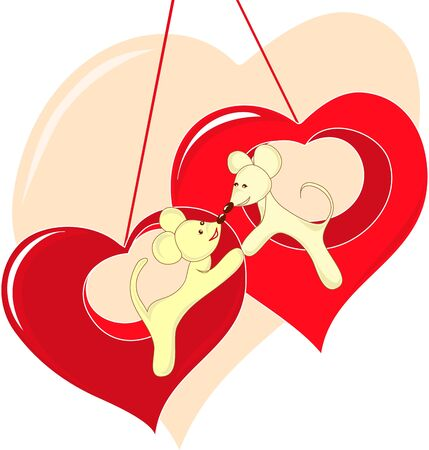 Valentine s Day card mouse with heart Stock Vector - 12492160
