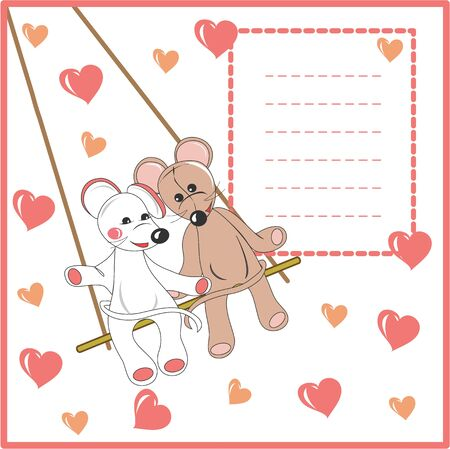 Card or illustration lovely animals with heart    Vector