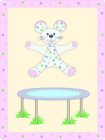 Baby card with animals  Mouse and trampoline Vector