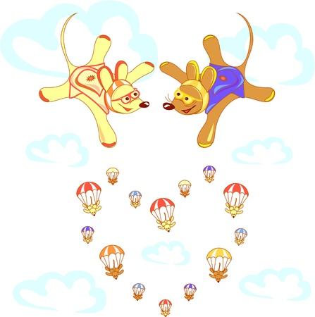 Skydivers animals in free fall between the clouds   Illustration