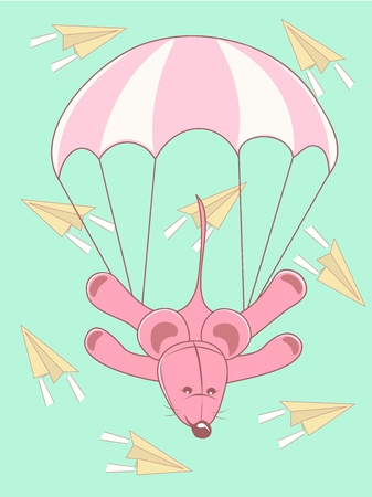 Baby card parachute jump Stock Vector - 12492161