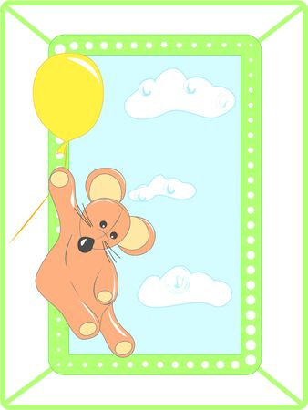 Greeting card with animal and balloon    Vector