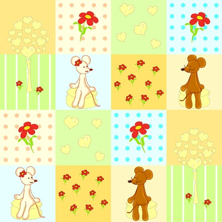 Seamless pattern with cute mouses  Vector