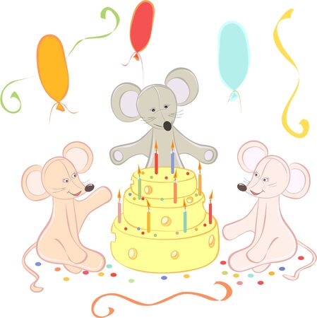 cheese cake: Birthday animals card