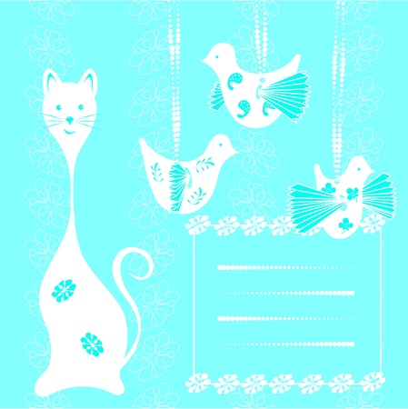 Scrapbook Template with blank space for your photos or text  Cat and bird Stock Vector - 12942895