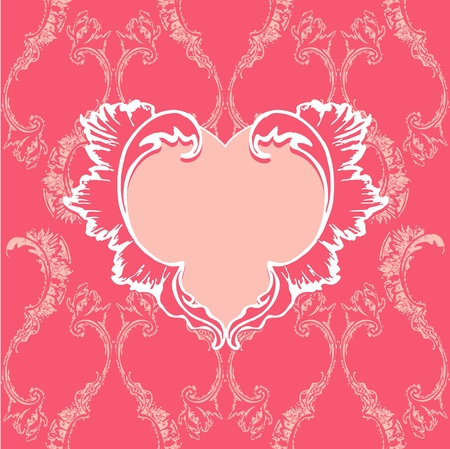 Heart  with floral pattern on vintage background Vector