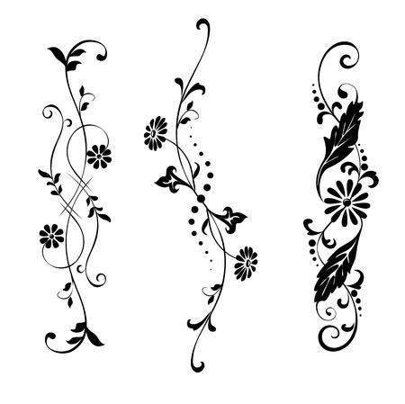Elementos del vector conjunto de flores de diseño y adornos florales