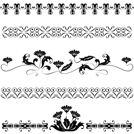 Set elements for design flowers and ornaments floral