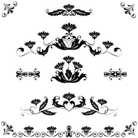 art deco background: Vector set elements for design flowers and ornaments floral