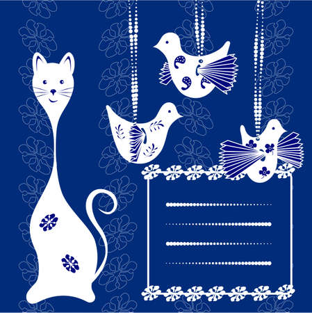 Card cat and bird. Space for your text or picture. floral background Stock Vector - 13223072