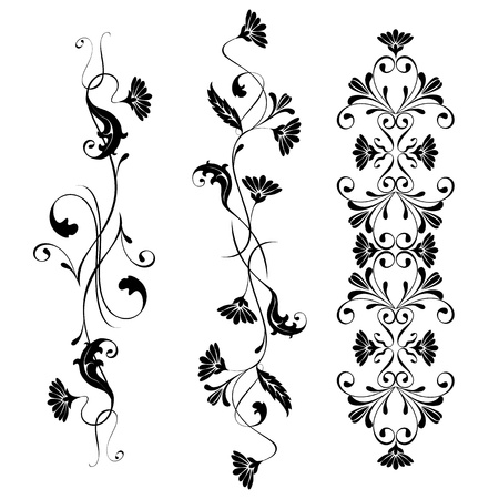 victorian border: Vector set swirling decorative floral elements ornament