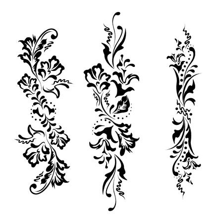 victorian textile: Set swirling decorative floral elements ornament