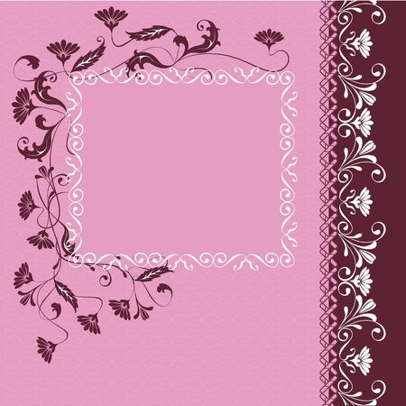 Background with flowers and ornaments floral  Space for your text or picture Illustration