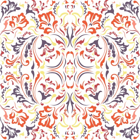 textile image: Seamless color pattern with  floral motifs on a white background Illustration
