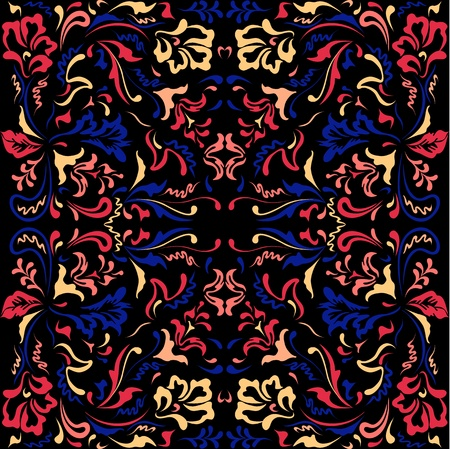 Seamless color pattern with  floral motifs on a black background Stock Vector - 13355383