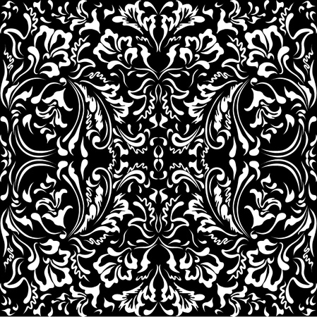 White floral pattern on a black background Illustration